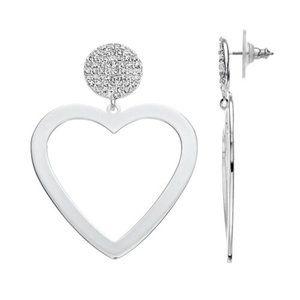 Nine West Silver Crystal Heart Drop Earrings